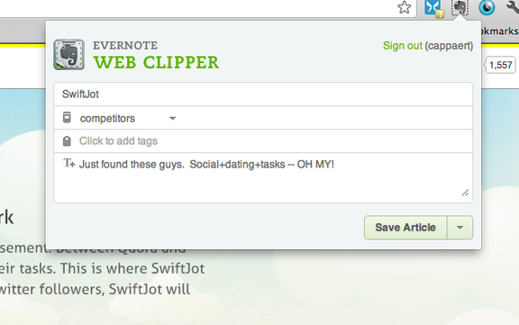 Evernote Chrome Clipper