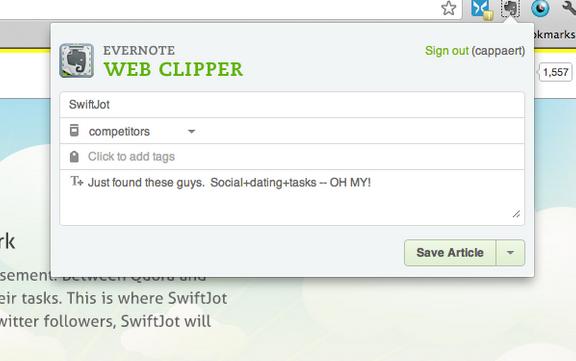 Evernote Chrome Clipper