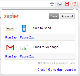 Zapier Chrome Extension using Backbone.js